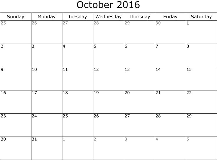 38 best 2016 October Calendar images on Pinterest 2016 calendar - printable calendar sample