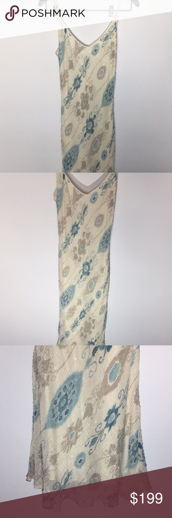 Kay Unger Evening Sequin Gown White Blue Flower This dress is gorgeous  Cream color base with blue and puter design. Sequin, dress is heavy so hangs beautiful on the body  Label tag partially coming off  Comes with extra sequin Amazing condition Kay Unger Dresses Maxi