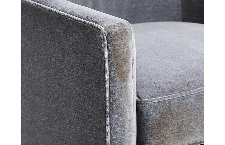 Swivel Barrel Chair, Velvet Gray $1,495.00
