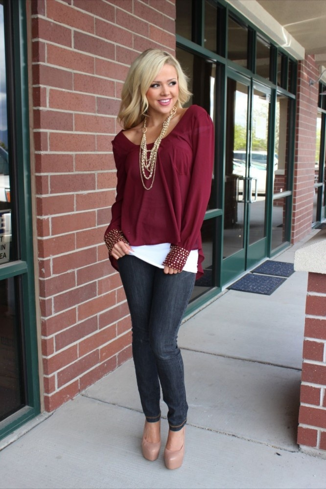 Modern Vintage Boutique - The Kayla Studded Wrist High Low Top Burgandy, $52.00 (http://www.modernvintageboutique.com/the-kayla-studded-wrist-high-low-top-burgandy.html)