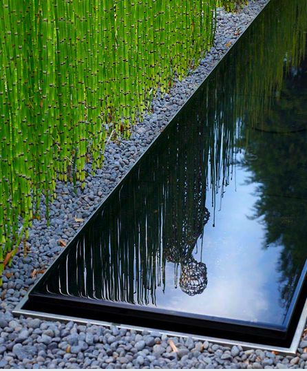 Minimal garden…. reflecting pool, gravel, and (once again) Equisetum hymale. Designed by Anthony Paul Landscape Design for a residential garden in Cobham, Surrey, England.