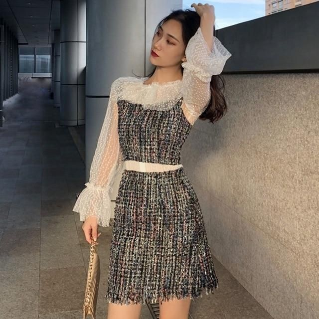 fashion autumn 2 piece outfits for women lace patchwork perspective tops vintage style Women's Clothing zipper short skirt Black 1