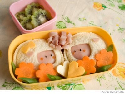 To make these soft sandwiches, make a sealed sandwich. Be sure to cut out a space for the sheep's faces. Cut out small pieces of ham for the sheep's ears.