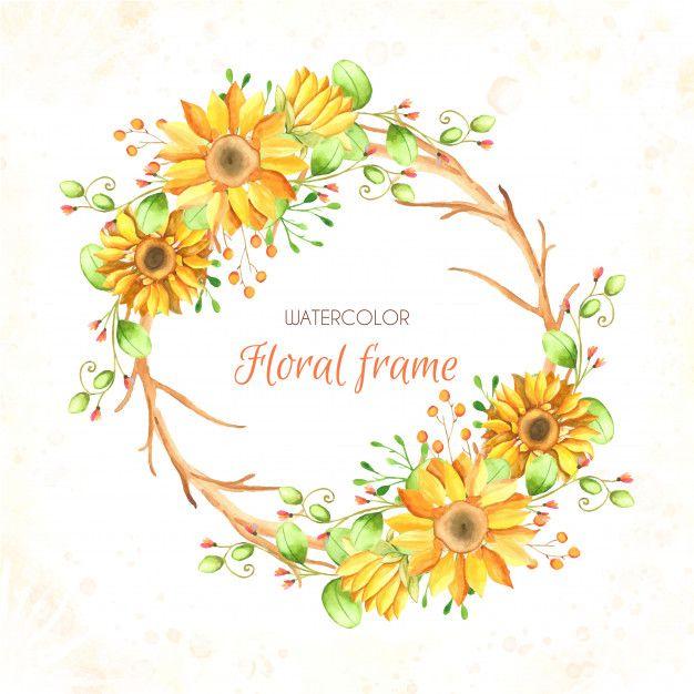 Watercolor Sunflower Background Premium Vector Premium Vector
