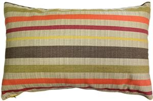 Sunbrella Solano Fiesta 12x20 Outdoor Pillow Soft horizontal stripes in orange, red, yellow, brown and tan, combine to create this warm and inviting throw pillow. The Solano Fiesta indoor/outdoor fabric from Sunbrella has a subtle vertical ribbing giving it texture and depth.