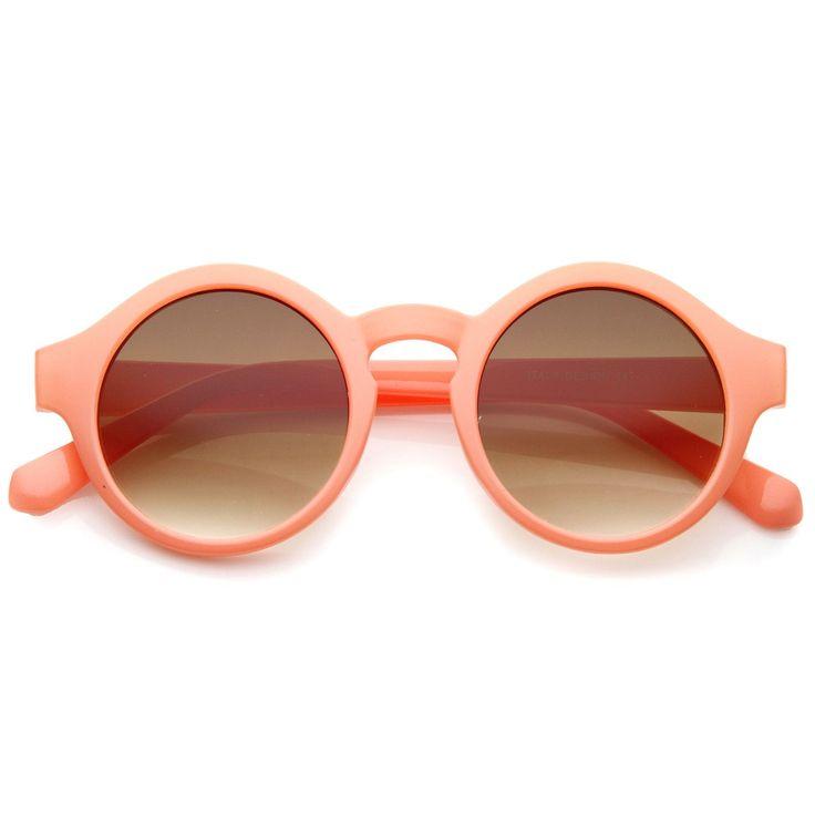 Women's Bright Pastel Color Retro Horn Rimmed Round Sunglasses 47mm - sunglass.la - 1