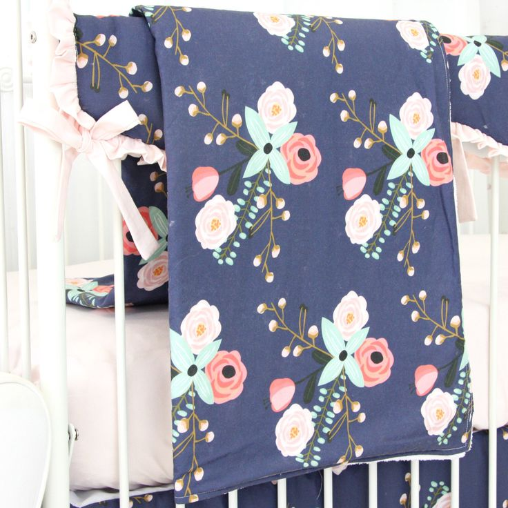 Berkeley's Blush and Navy Floral Baby Blanket | Watercolor, Mint , Pink, Navy & Floral Teething Guard | Sweet Floral Baby Girl Crib Bedding by CadenLaneBabyBedding on Etsy https://www.etsy.com/listing/479936561/berkeleys-blush-and-navy-floral-baby