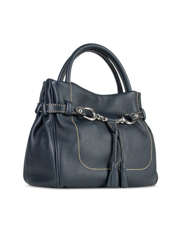 Blue Italian Pebble Calf Leather Bag