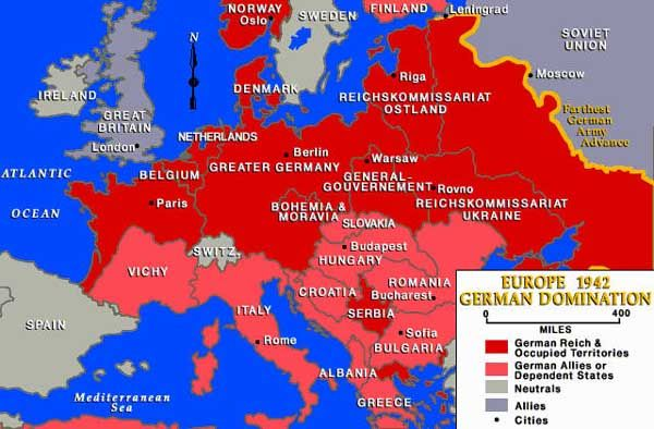 A Europe map from 1942 shows German Reich and occupied territories ...