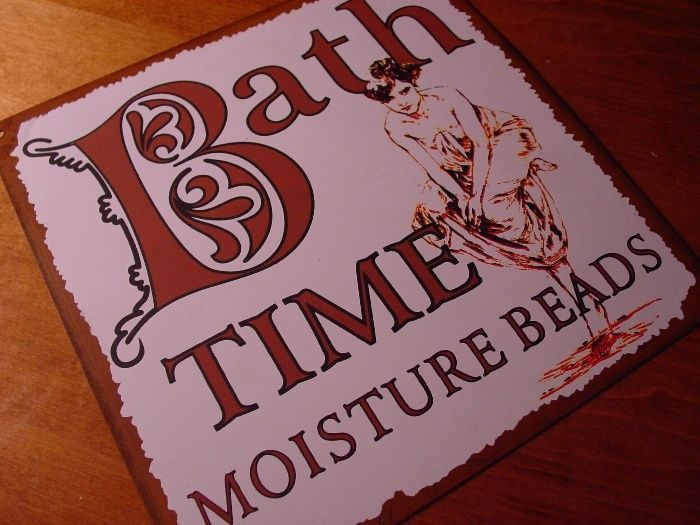 BATH TIME MOISTURE BEADS Old West Western Style Lettering Bathroom Sign Decor #RusticPrimitive