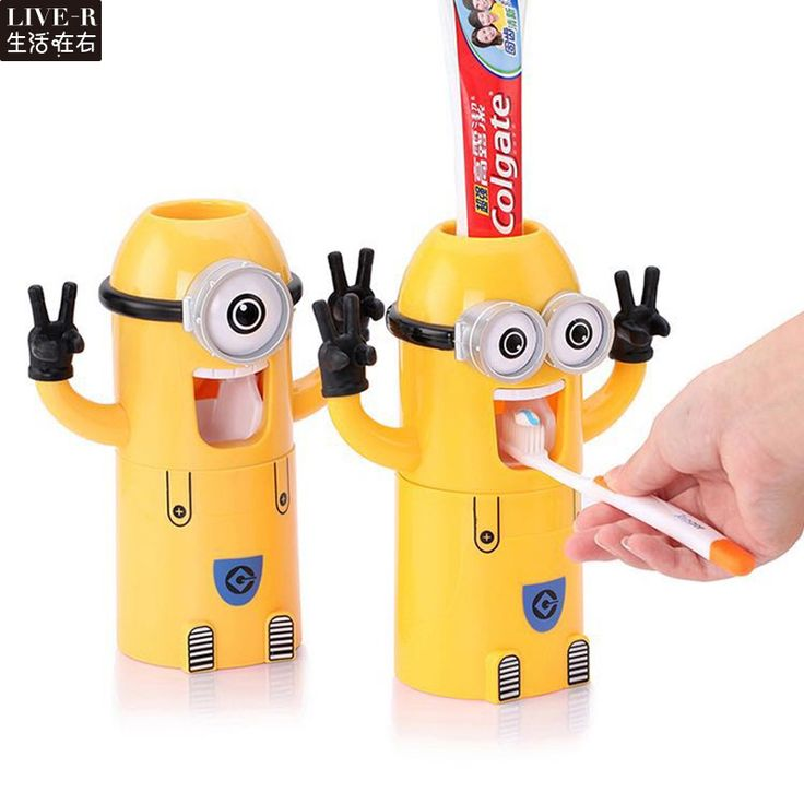 Live-R Home Bathroom Products Cute Design Set Cartoon yellow Minions Toothbrush Holder Automatic Toothpaste Dispenser Toothpaste