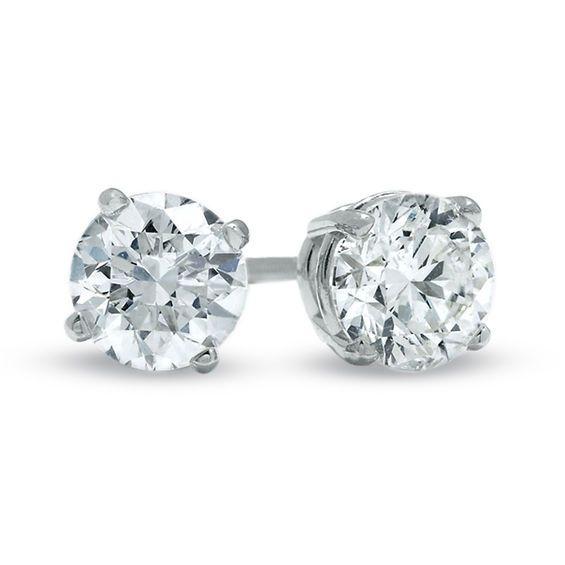 1 1 2 Ct T W Certified Diamond Solitaire Stud Earrings In 14k White Gold Stud Earrings Sterling Silver Earrings Studs Diamond