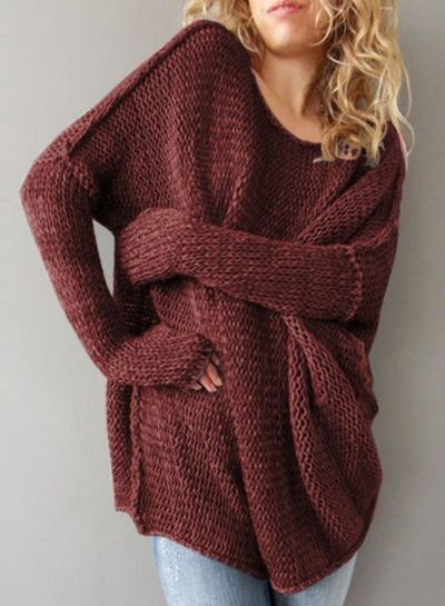 Solid Dropped Shoulder Loose Fit Pullover Sweater - OASAP.com
