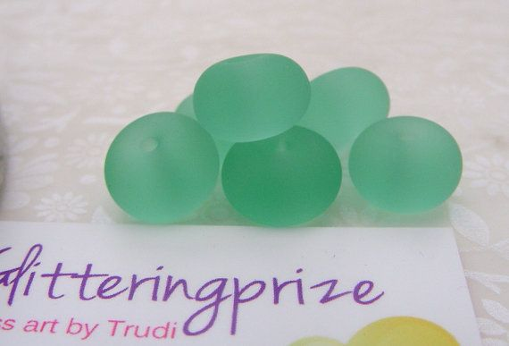Lampwork Glass Spacer Beads Etched Aloe by GlitteringprizeGlass for jewellery making