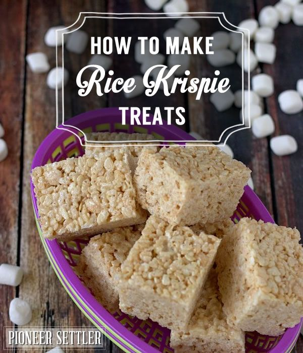 How to make rice krispie treats from scratch, step by step tutorial for a delicious homesteading dessert treats. | http://pioneersettler.com/make-rice-krispie-treats/