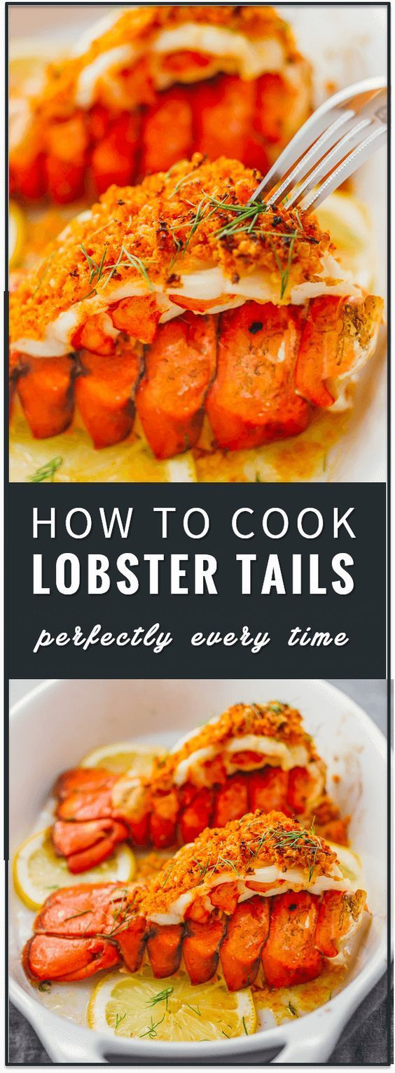 Learn how to cook lobster tails with lemon garlic butter and a parmesan bread crumb topping via broiling in the oven. broil lobster tails, steamed, pastry, how to boil, baked, recipe, dinner, romantic, valentine's day, frozen lobster tail, butterfly lobster tail, grilled, easy, how to cook, steamed via @savory tooth