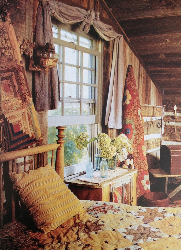 Rustic Cabin Bedroom.. Like The Window Curtains.