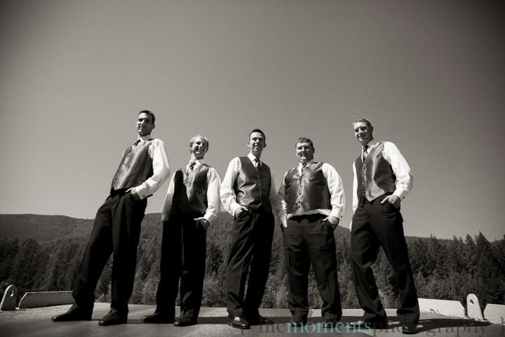 Groomsmen take a ride on the ferry. Wedding. 2012.