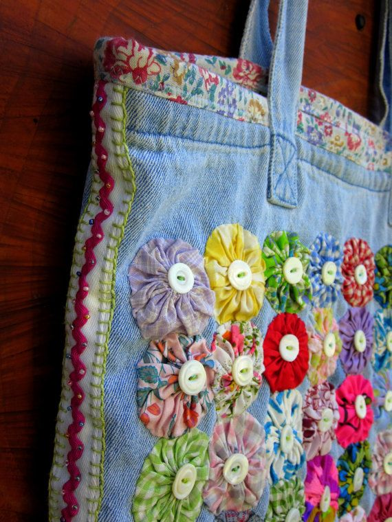 Upcycled Lined Tote/Market Bag with Vintage Yo-Yos, Pearl Buttons and Beaded Ric-Rac. $48.00, via Etsy.