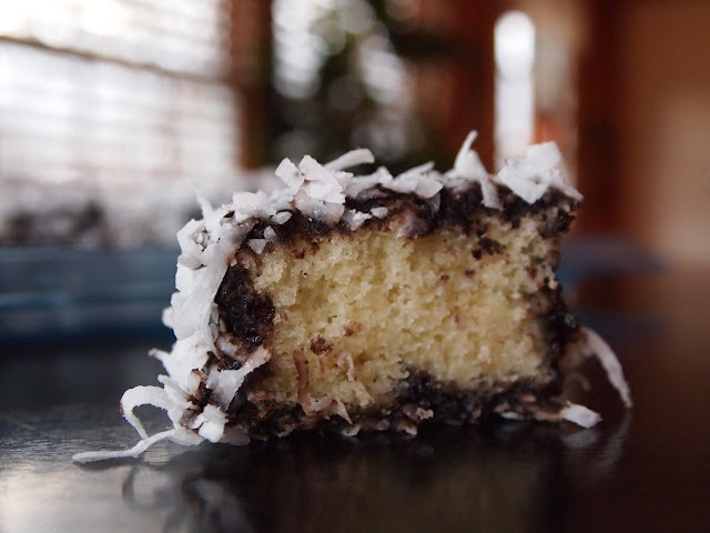 A moist yellow cake covered in hot chocolate sauce and coconut