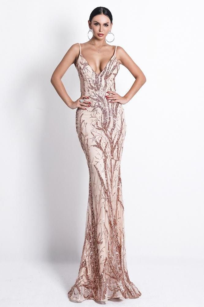 21838ade KELLIPS Deep V Off Shoulder Sequin Backless Elegant Maxi Party Dress ...