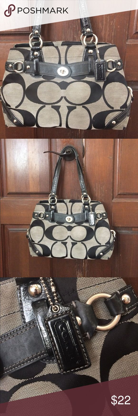 Coach Carly Carryall Black & Grey Shoulder Bag Used condition. Bag has definitely been well loved but is still in good condition. Some minor tearing and wear at all four bottom corners.  Small spot front bottom right of the bag. Leather is slightly worn where it connects at the hardware. (See pictures.) Inside is in great condition. This bag still looks awesome and has a lot of life to go. :) Coach Bags Satchels