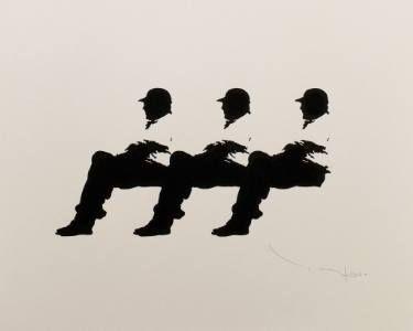 "Saatchi Art Artist Tehos Frederic CAMILLERI; Drawing, ""Three men on a bench 14 - Tehos"" #art"