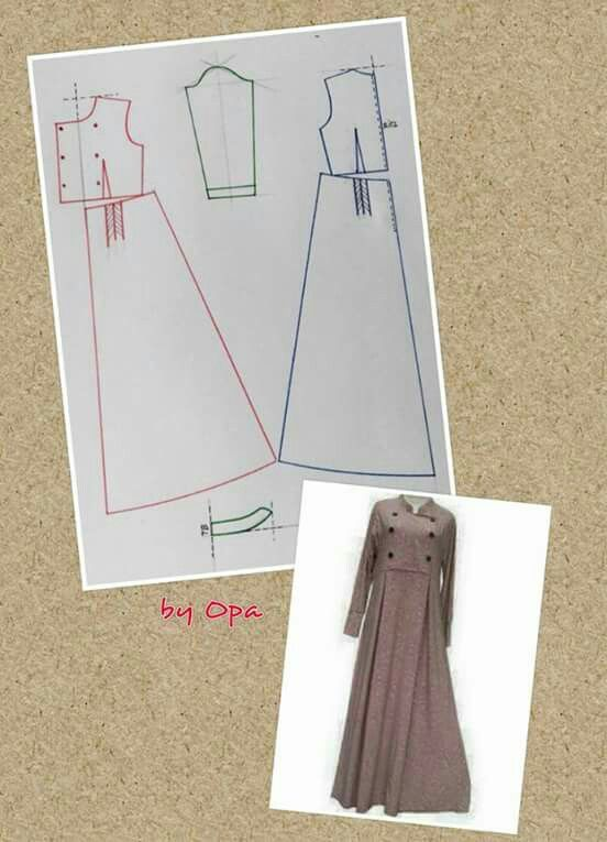 Maxi dress pattern. pecah pola double breasted peacoat dress steampunkable