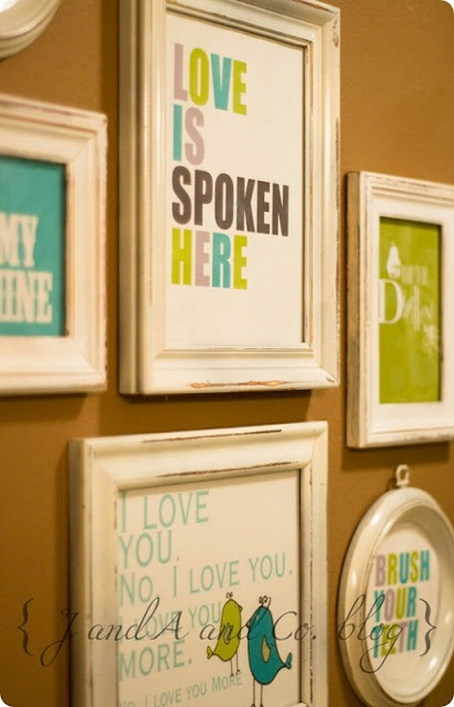 "Free printables: Sweet messages to make your bathroom more welcoming ... thinking about re-doing the guest bathroom to be more ""kid friendly"" but not super ""kiddy"" haha ... anyways ... love these colors! Bright and young yet still grown up!"