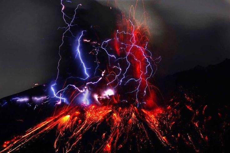 Showa crater of Sakurajima and volcanic lightning in Kagoshima Prefecture in Kyushu, Japan.