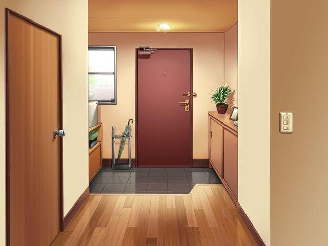 House Anime Door Background