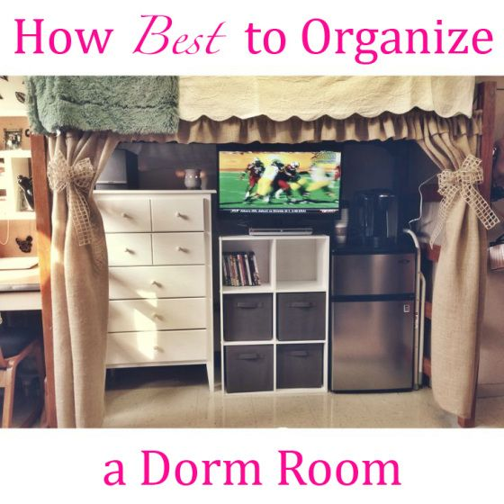 Putting storage under a loft bed maximizes space to put things and cute curtains is a good way to hide disorganization.