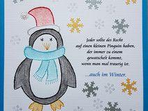 Fadengrafik Grußkarten Set 192 Pinguin mit Spruch