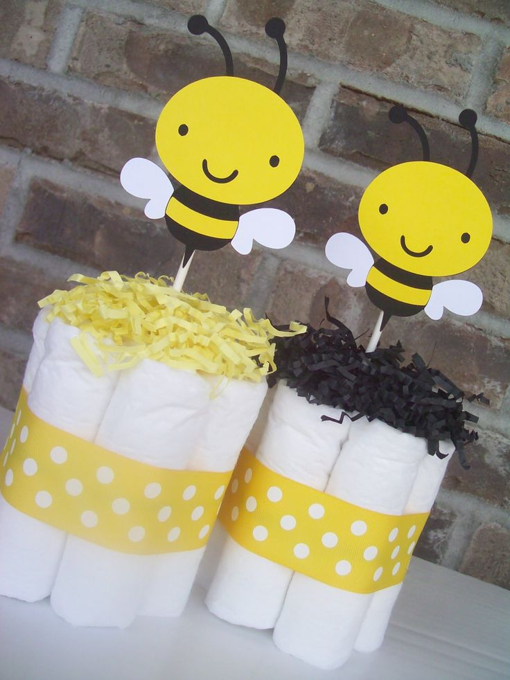 Bumble Bee Diaper Cakes Set Of Shower Decorations Centerpieces