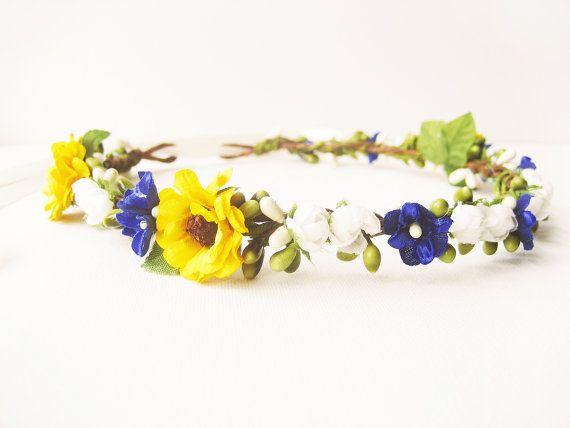 Sunflower Crown Flower Crown Floral Crown Bridal by NoonOnTheMoon, $95.00