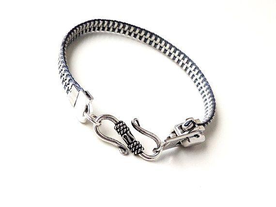 Grey Zipper Bracelet Repurposed Grey and Silver by JustKJewellery, £12.00 or $20.73
