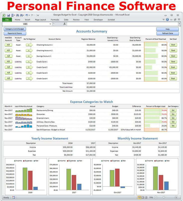 9 best Personal Finance Software - Georges Budget for Excel images