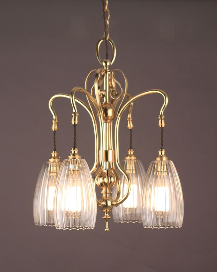 4 branch art nouveau chandelier with hand blown ribbed upton shades exclusive to fritz fryer