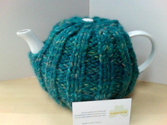 Irish Hand Knitted, snug Tea Cosy, Blue/Green tweed mix, email the craftyshamrock@gmail.com