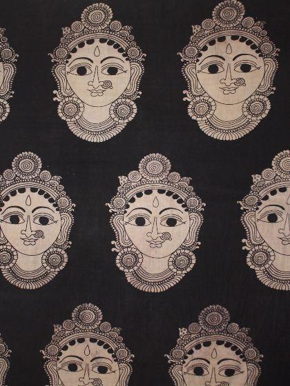 Buy Big Faces - hand painted Kalamkari Fabric   Saree ...