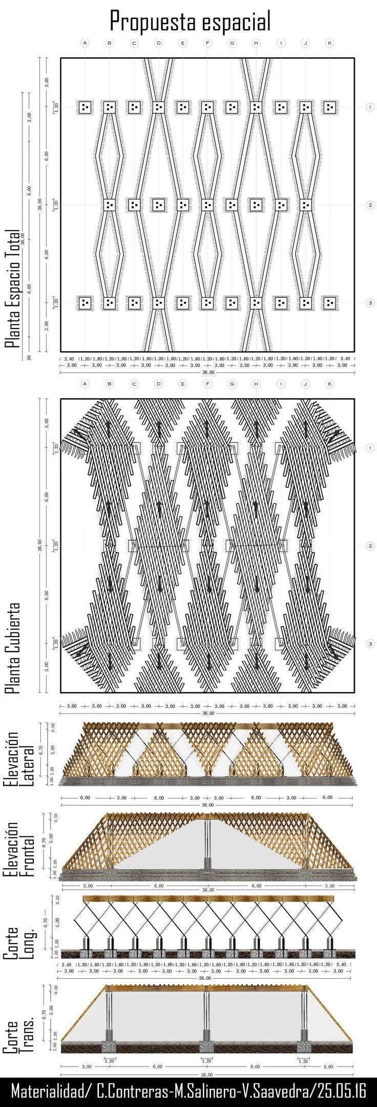 Proyecto Galería. Ramo: Materialidad. Cubierta madera, pilar metal, suelo hormigón.