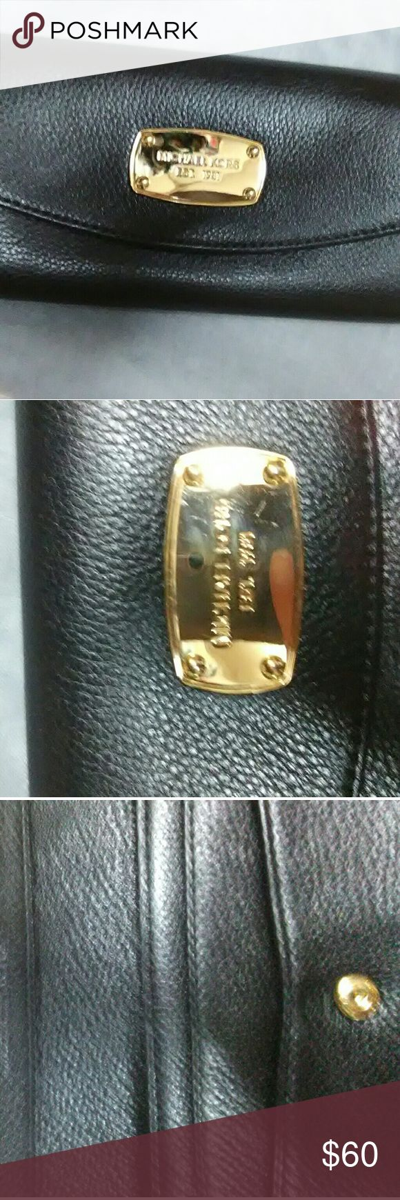 Michael Kors Jet Set Saffiano Leather Wallet? Great condition Minor scratches on gold emblem 8 inches long 4 inches wide Michael Kors Bags Wallets