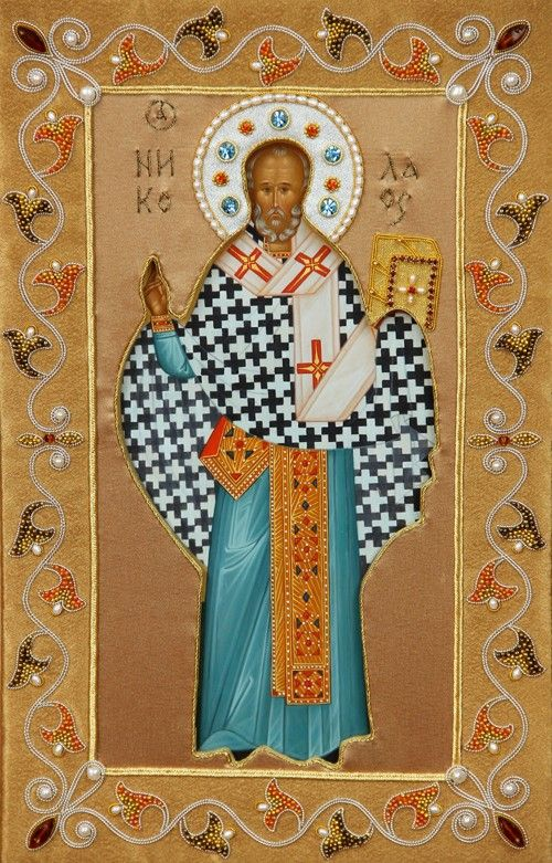 St Nicholas the Wonderworker - Hand-Painted Icon from the Workshop of St. Elisabeth Convent - To learn more about our Icon Painting Studio: http://catalog.obitel-minsk.com/icon-painting #CatalogOfGoodDeeds #Orthodox #Icons - #OrthodoxIcons #Orthodoxy, #Miracle, #Blessed #Faith #Handpainted #InOklad #Oklad #Saint #Nicholas #Wonderworker