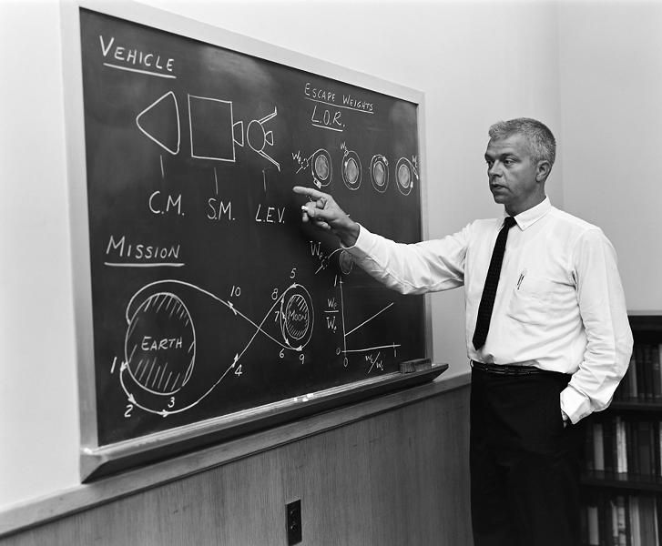 <p><strong>The Plan</strong><br /> At the blackboard, John C. Houbolt shows his space rendezvous concept for lunar landings. Lunar Orbital Rendezvous (LOR) would be used in the Apollo program. Photograph published in Space Flight Revolution - NASA Langley Research Center From Sputnik to Apollo (page 247), by James R. Hansen.</p>