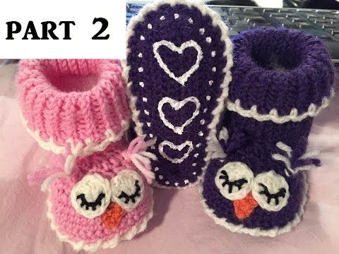 Crochet & knit slippers - FREE tutorial - owl slippers - baby - wool - P...