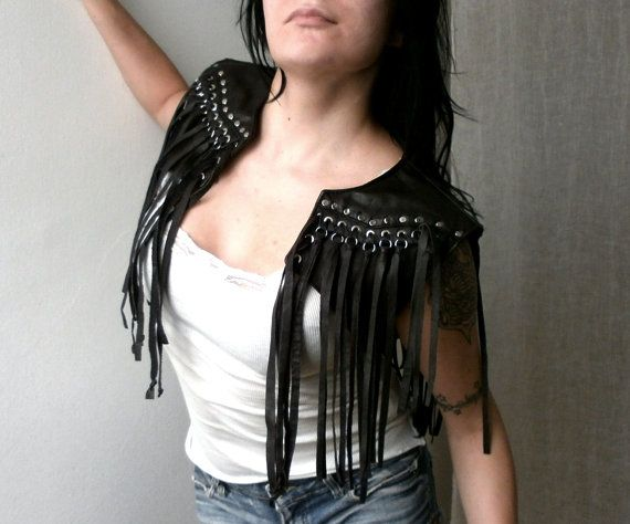 Dream Warriors dark brown leather fringe crop by DreamWarriors