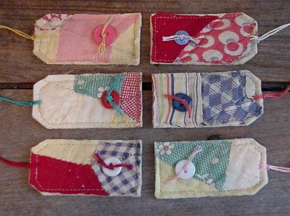 Shabby Hand Quilted Patchwork Gift Tags/Prim Feedsack Fabric Cutter Quilt Hang Tags/Tie Ons