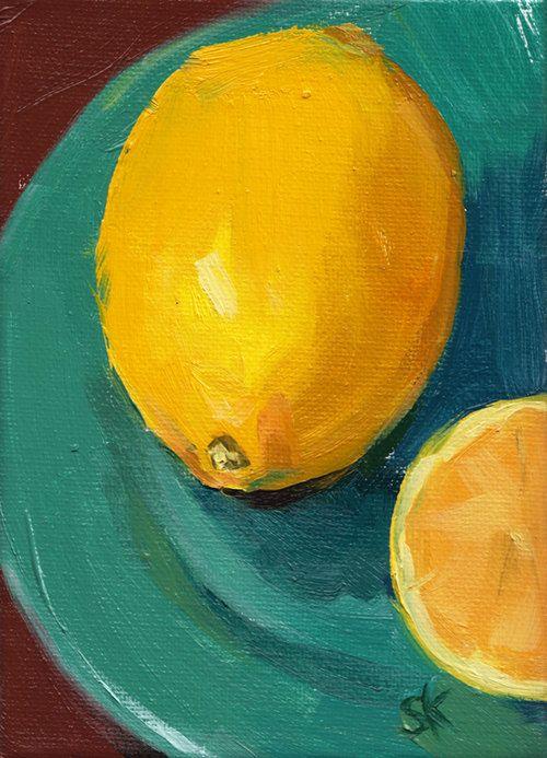 yellow lemon kitchen art oil painting - 5 x 7 - Lemon