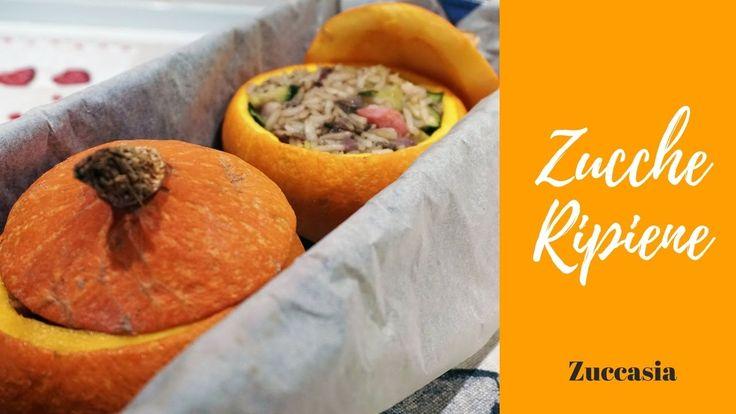 Zucche al forno ripiene di riso e verdura. Ricetta vegetariana facilissima. #ricette #pinalapeppina #zucche #veg #vegetariana #autunno #pumpkin #stuffed #rice #video #veg #vegetarian