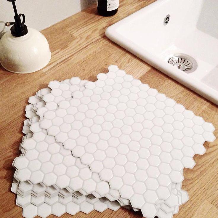 Dosseret autocollant hexagone blanc